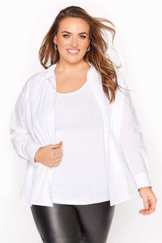 Plus Size  White Cotton Poplin Shirt