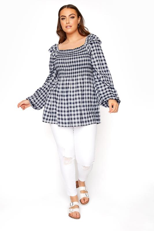 LIMITED COLLECTION Navy Check Shirred Milkmaid Top