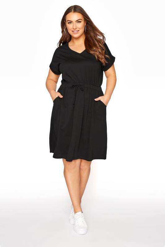 Plus Size Skater Dresses Black Jersey T-Shirt Mini Dress