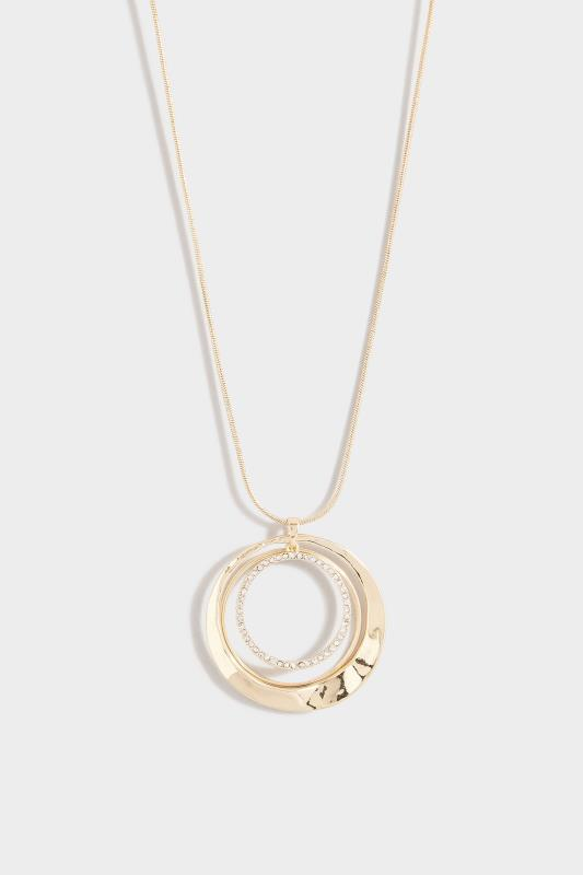 Yours Gold Diamante Circle Long Necklace