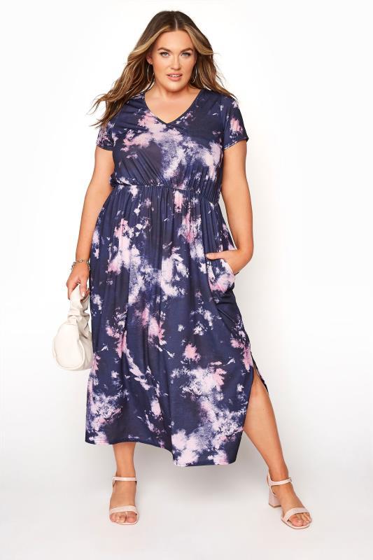 Plus Size  YOURS LONDON Navy Tie Dye Pocket Midi Dress