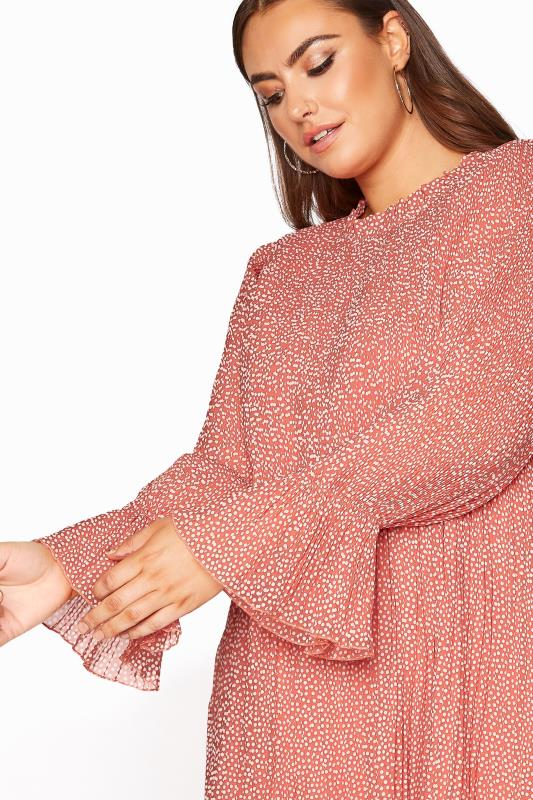 YOURS LONDON Pink Polka Dot Flared Sleeve Blouse_D.jpg
