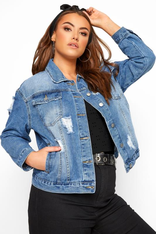 Plus Size Denim Jackets Blue Distressed Western Denim Jacket
