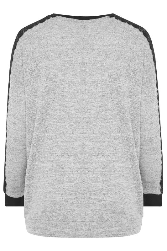 LIMITED COLLECTION Grey Marl Lace Tape Knitted Sweatshirt