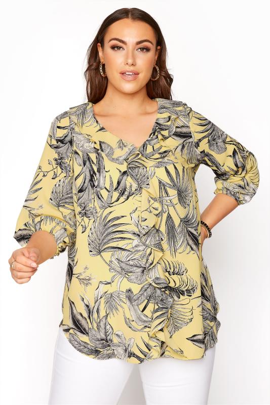 Plus Size  Yellow Palm Print Ruffle Balloon Sleeve Blouse