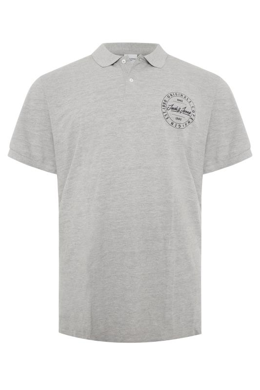 Plus Size  JACK & JONES Grey Cotton Pique Polo Shirt