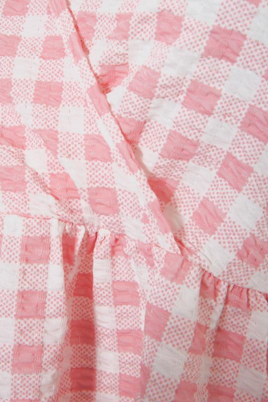 LIMITED COLLECTION Pink Gingham Wrap Front Smock Top_S.jpg
