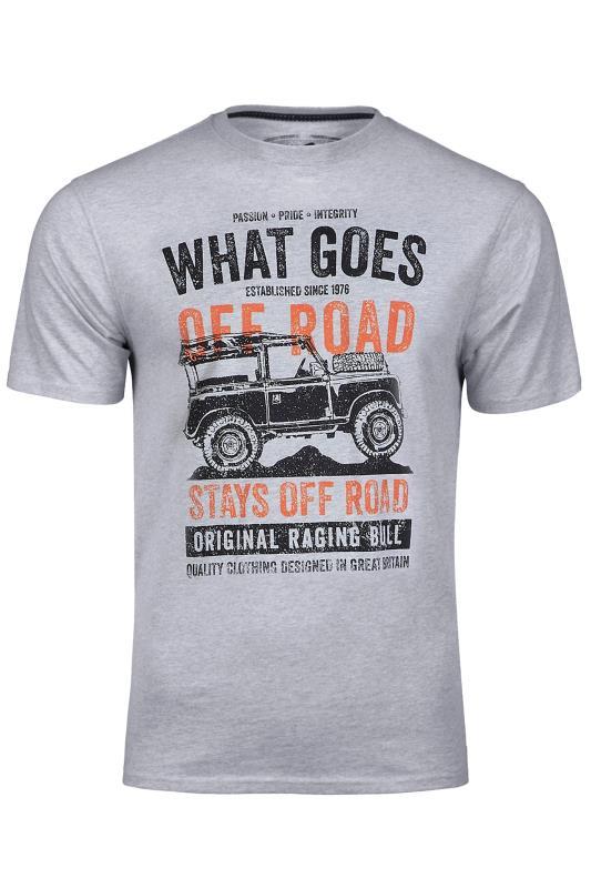 Men's  RAGING BULL Grey What Goes Off Road T-Shirt