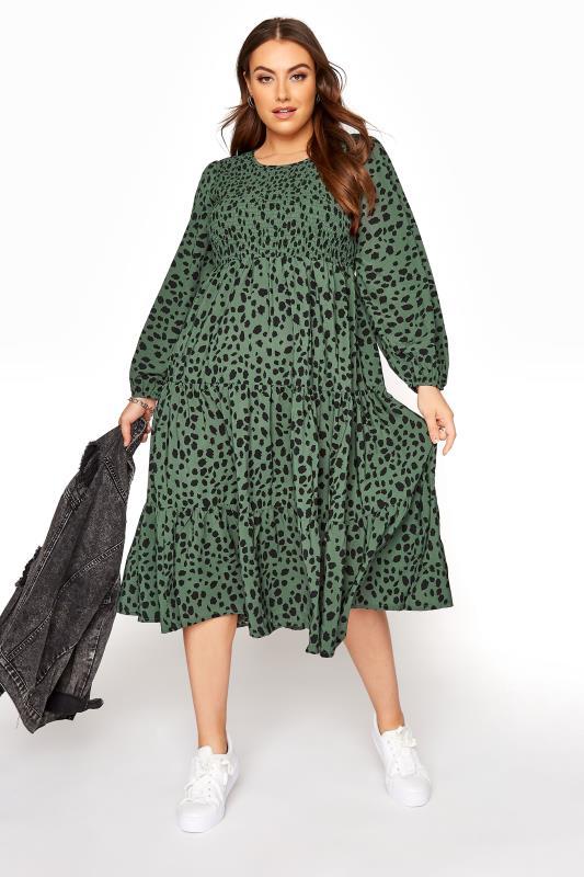 Green Dalmatian Print Shirred Smock Midi Dress_B.jpg