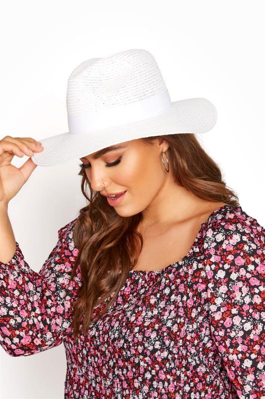 Grande Taille White Straw Fedora Hat