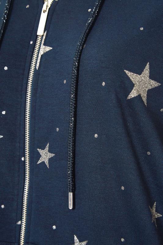 Navy Star Print Zip Through Hoodie_S.jpg