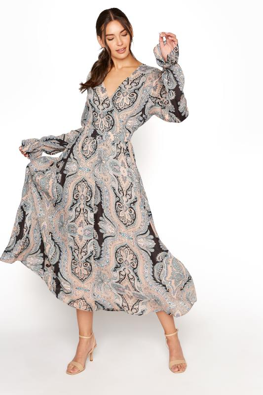 Tall  LTS Natural Paisley Print Long Sleeve Pleat Dress