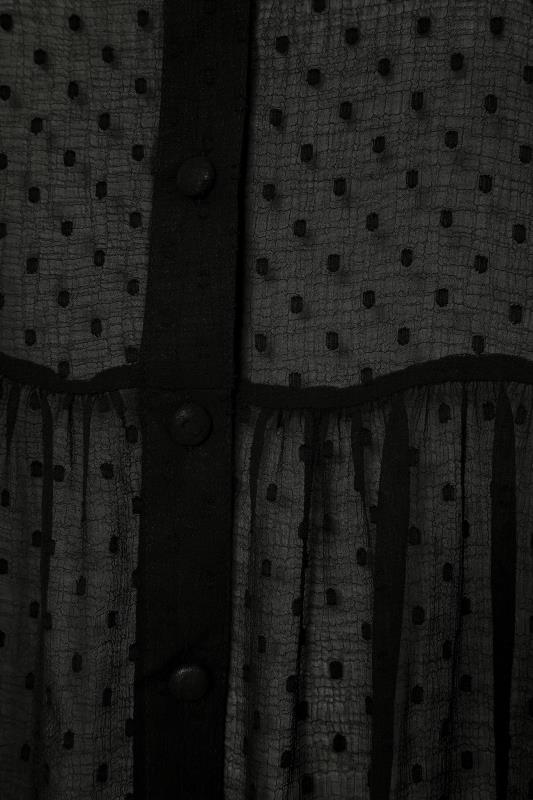 Black Dobby Chiffon Smock Shirt_S.jpg