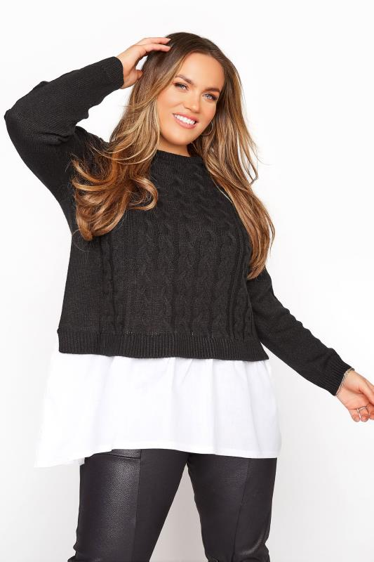 Plus Size  Black 2 In 1 Poplin Hem Cable Knitted Jumper