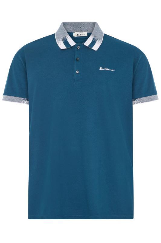 Plus Size  BEN SHERMAN Blue Contrast Detail Polo
