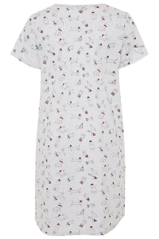 Grey Dog Print Dipped Hem Nightdress