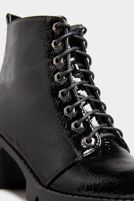 LIMITED COLLECTION Black Patent Platform Lace Up Heeled Boots In Wide Fit