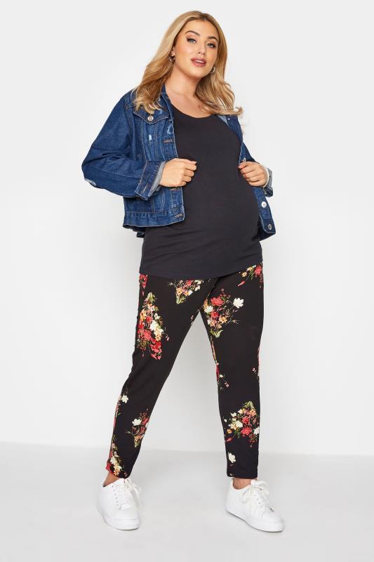 Plus Size  BUMP IT UP MATERNITY Black Floral Print Trousers