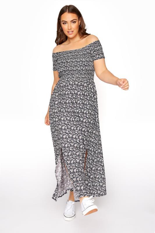 Navy Floral Shirred Bardot Maxi Dress