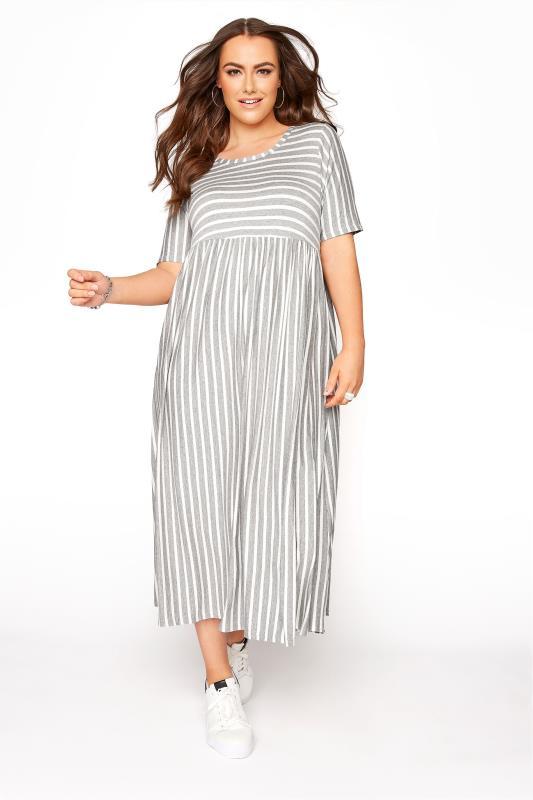 Großen Größen  Grey Marl Stripe Dress