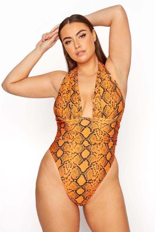Plus Size  LIMITED COLLECTION Orange Neon Snake Print Plunge Swimsuit