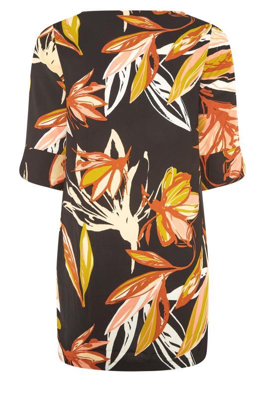 Black Leaf Print V-Neck Shift Dress_BK.jpg