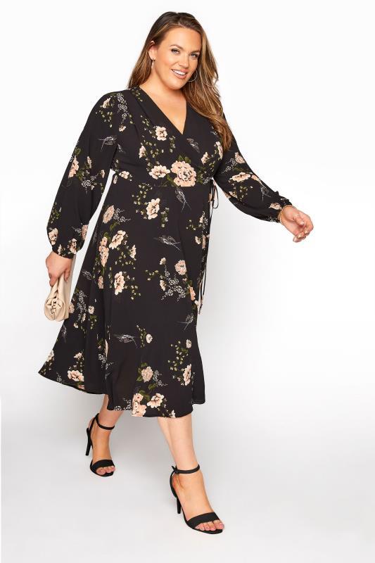 YOURS LONDON Black Floral Print Midi Dress_B.jpg