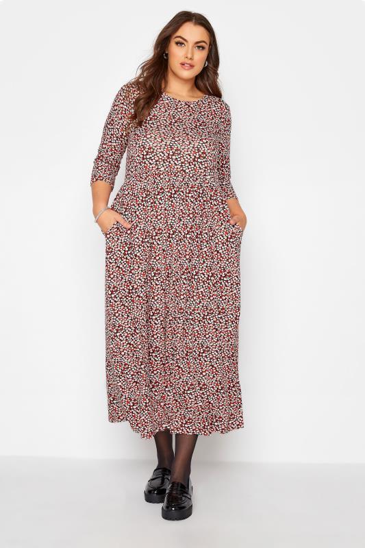 Großen Größen  Red Ditsy Print Pocket Midaxi Dress