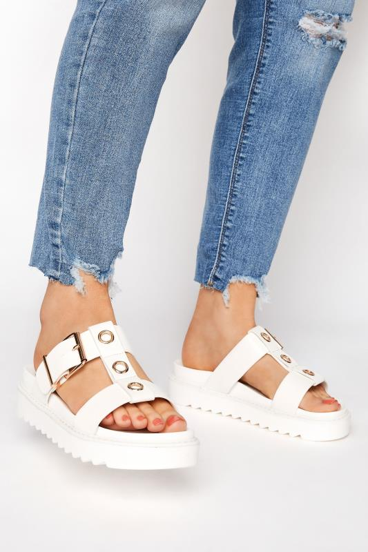 Yours White Metal Detail Chunky Mule Sandals In Regular Fit