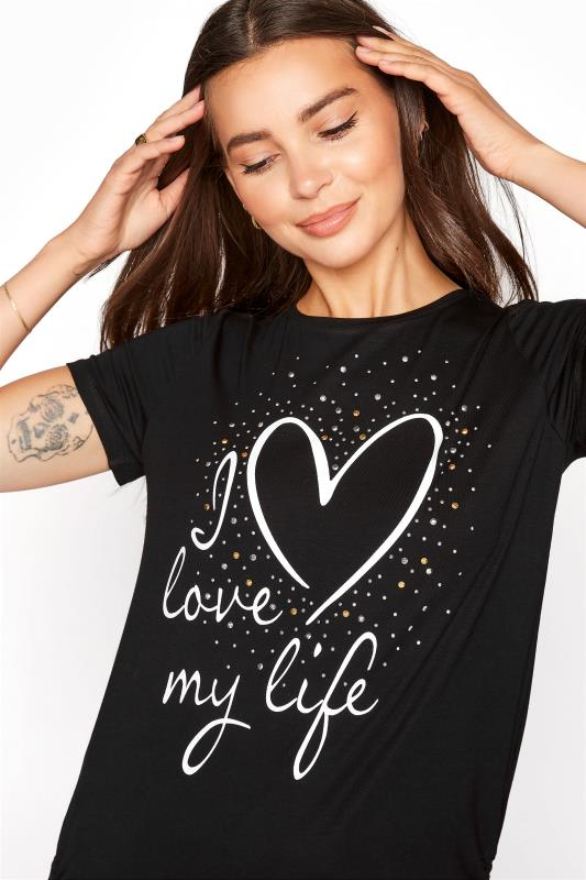 LTS Black 'I Love My Life' Ruched Side Tunic_E.jpg