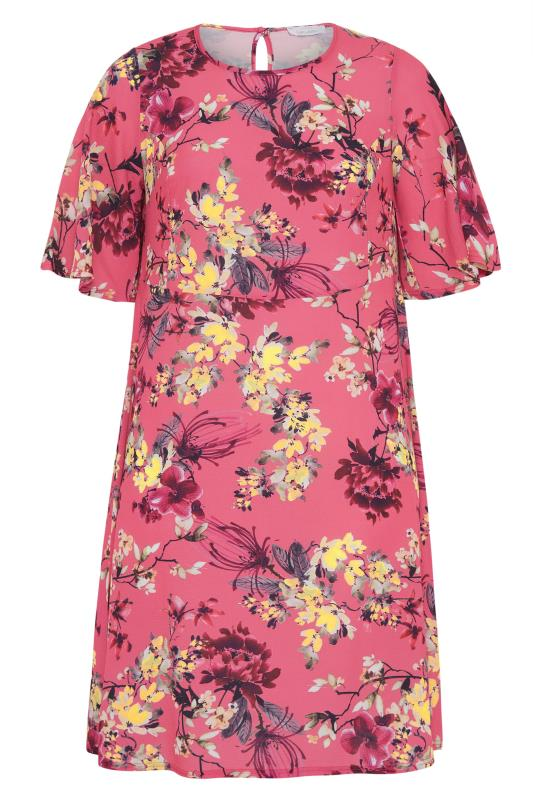 YOURS LONDON Pink Floral Oriental Dress_F.jpg