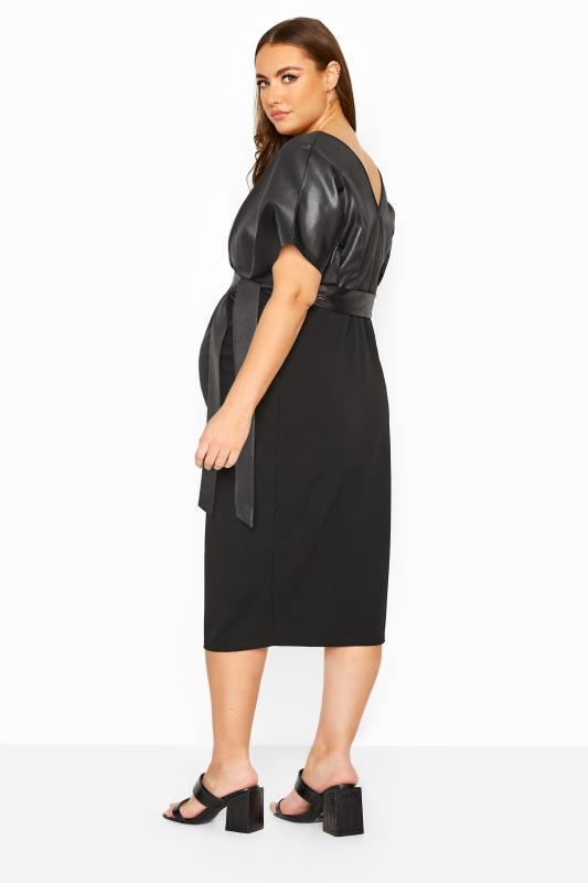 BUMP IT UP MATERNITY Black Contrast Wrap Dress