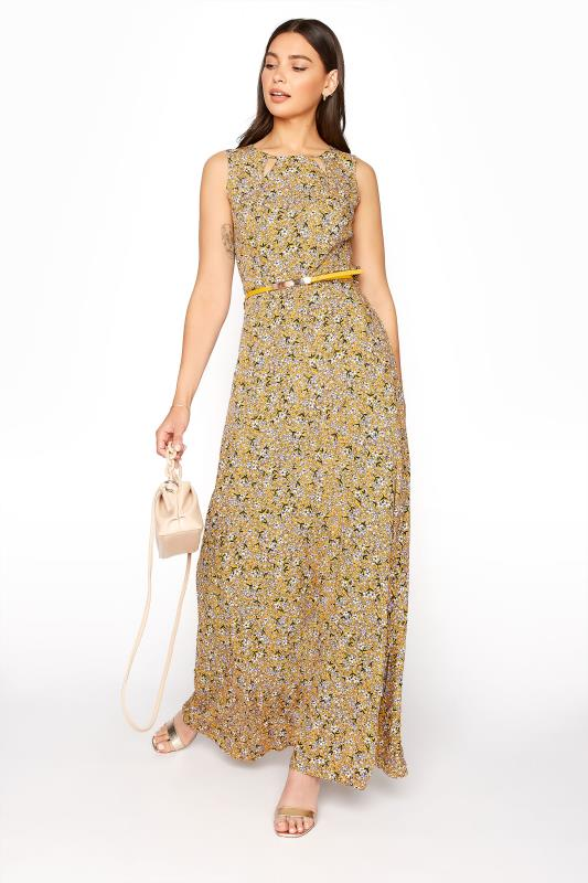 LTS Yellow Ditsy Sleeveless Fitted Maxi Dress_B.jpg
