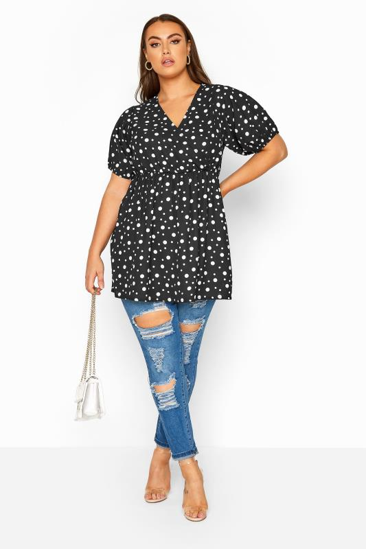 LIMITED COLLECTION Black Spotted Wrap Peplum Blouse