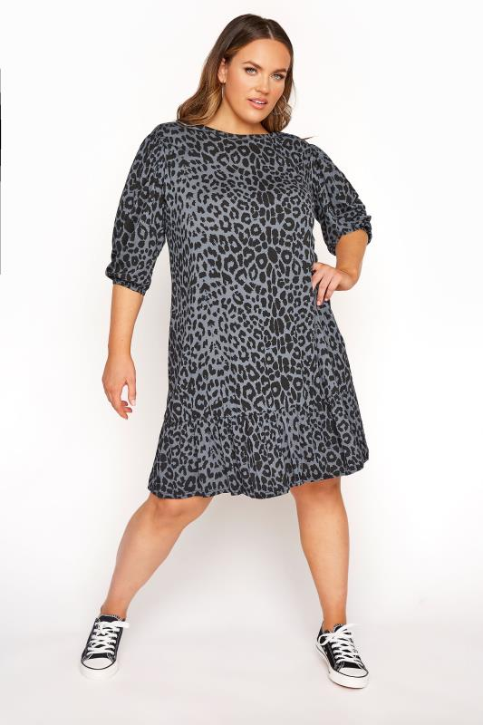 LIMITED COLLECTION Blue Grey Leopard Print Balloon Sleeve Smock Dress