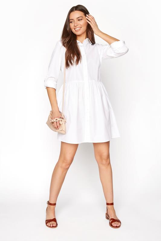LTS White Smock Turn Up Sleeve Cotton Shirt