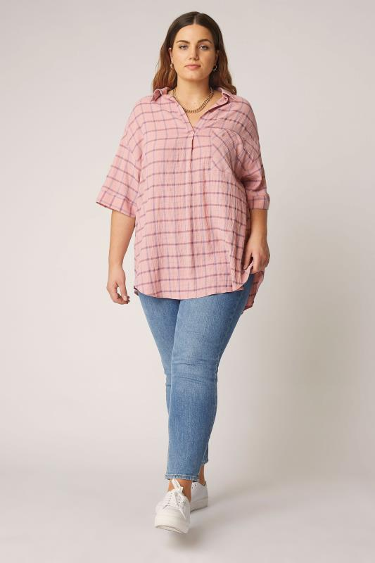 THE LIMITED EDIT Pink Check Pleated Front Top_B.jpg