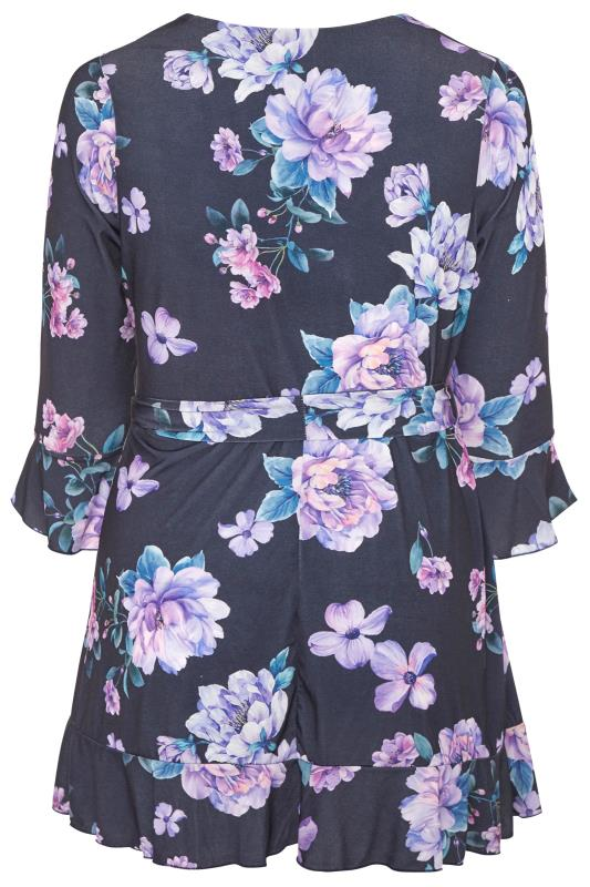 YOURS LONDON Navy Floral Frill Belted Top_BK.jpg