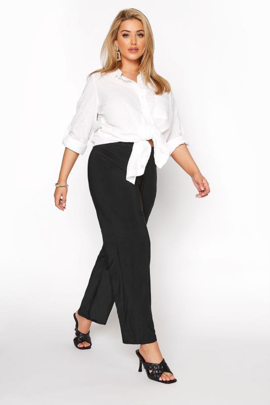 Großen Größen Wide Leg & Palazzo Trousers Black Pull On Wide Leg Trousers