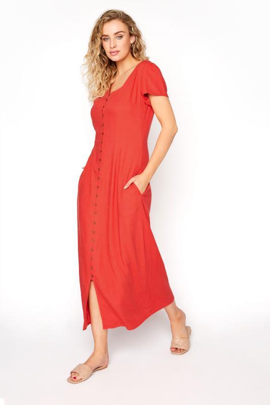 LTS Red Linen Button Front Midi Dress_B.jpg