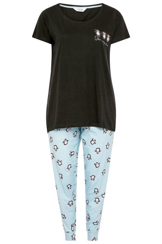 Pyjama-set met 'The Cosy Club' slogan en pinguïnprint in zwart-blauw