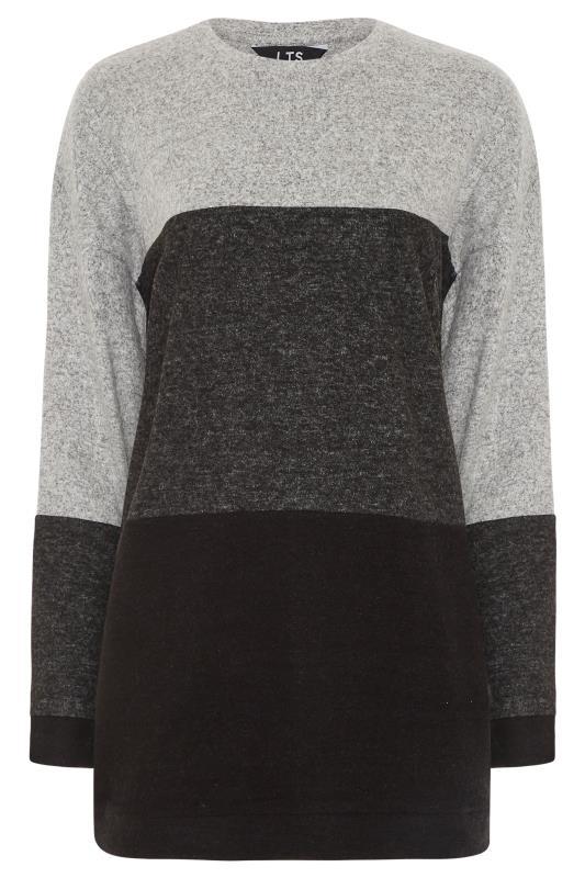Tall  LTS Grey Oversized Colour Block Sweatshirt