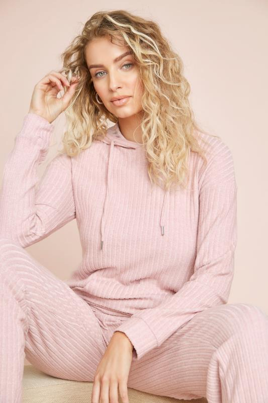 LTS Pink Ribbed Co-ord Hoodie