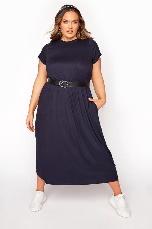 YOURS LONDON Navy Pocket Maxi Dress_B.jpg