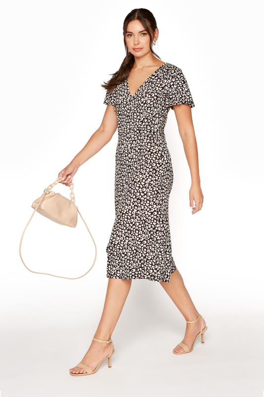LTS Black Leopard Print Wrap Midi Dress