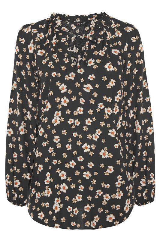 Black Daisy Print Tie Neck Blouse_F.jpg