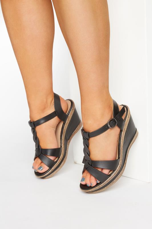 Yours Black Twist Trim Wedges In Extra Wide Fit