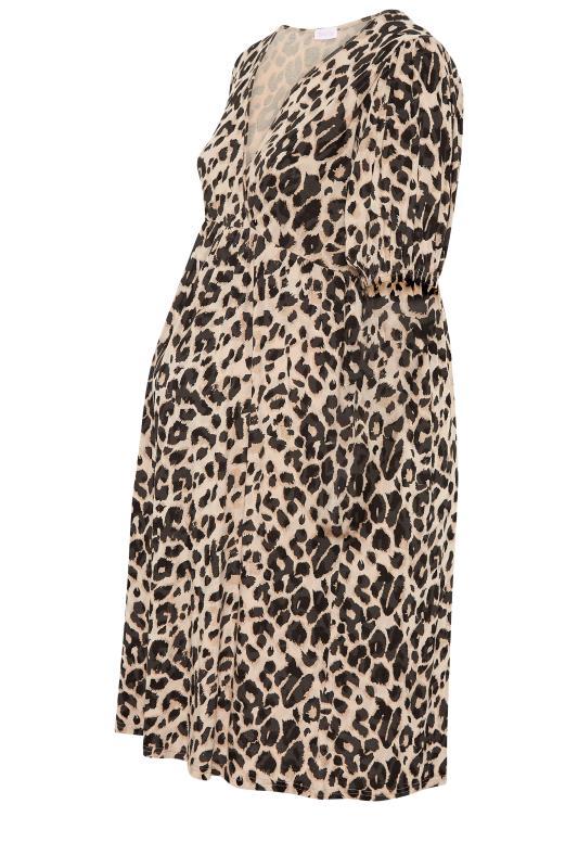 BUMP IT UP MATERNITY Natural Animal Print Wrap Dress_F.jpg