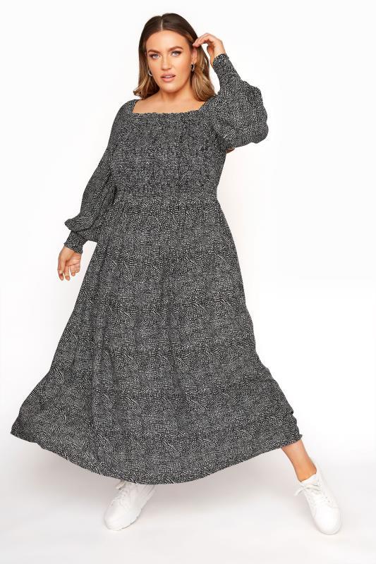 Black Spotted Shirred Milkmaid Maxi Dress