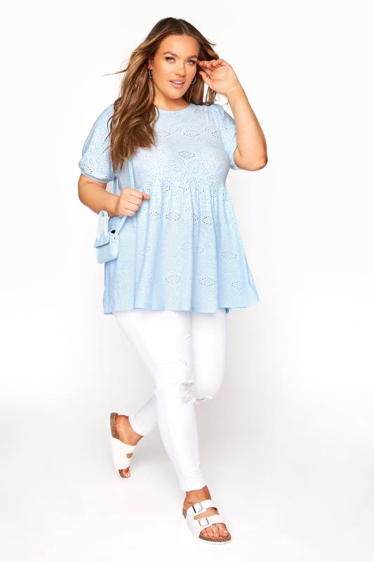 Pale Blue Broderie Anglaise Peplum Top